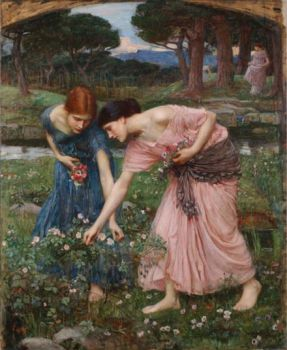 J W Waterhouse Gather Ye Rosebuds
