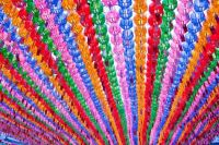 colourful lanterns in buddhist temples for a celebration
