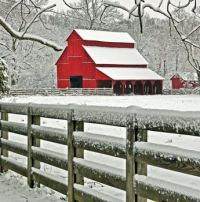 Red Barn In Tennessee On A Snowy Day...
