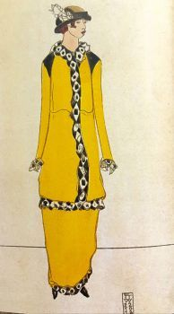 1914 Fashion Card, Lady in Yellow