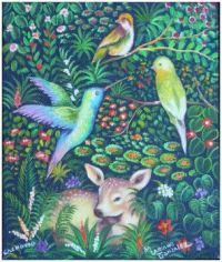 Birds and Fawn ~ Mario Gonzalez Chavajay (Mayan)