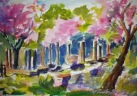 Judas Trees in Bloom at Olympia Ruins