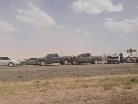 Car pile-up on State Route 347 North of Casa Grande due to low visibility