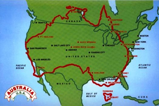 Size of Australia compared to USA