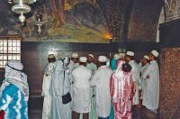 A 105, scene 7, inside Church of Holy Sepulcher, visitors from India, Old Walled City, Jerusalem, 1994 Israel trip