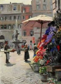 "Peder Mørk Mønsted,  ""A View of the Piazza Barberini in Rome"", 1928"