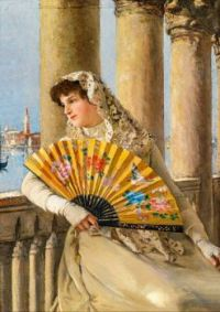 Venetian woman with yellow fan