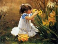 fetita cu flori