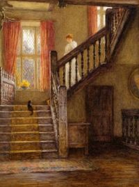 Helen Allingham (née Paterson) (British painter) 1848 - 1926 The Staircase, Whittington Court, Gloucestershire,