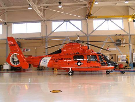 Coast Guard Helo in Hanger