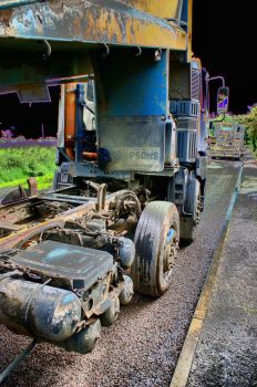 HDR of a tipper truck spreading gravel - 15th Jun 2012