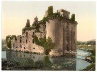 Caerlaverock Castle, Dumfries, Scotland. Circa 1900. Hand tinted photograph