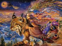 Girl with Lynx by josephine wall