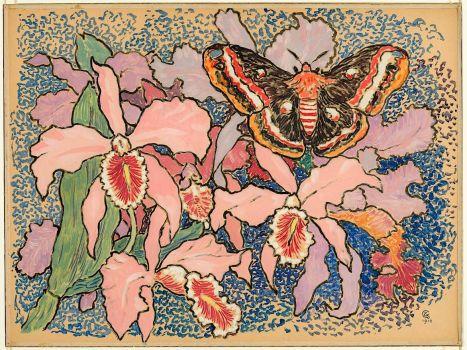 Orchids and a Butterfly, Gisbert Combaz, 1912