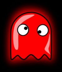 red pac man ghost