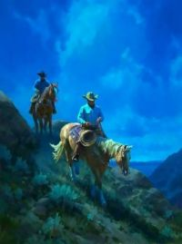 Cowboys coming down a mountain