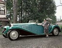 Jean Bugatti with his Bugatti  1932 Royal Esders Roadster