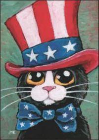 Patriotic Tuxedo Cat by Lisa Marie Robinson
