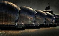 Thames Barrier London - Rain