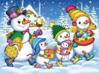 Mr. and Mrs. Snowman and family
