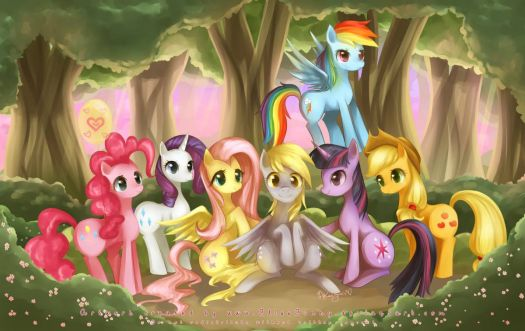 MLP: Mane 6 Plus 1 by blissbunny