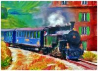 Painting - Vintage Train at the Station