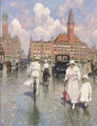 """Paul Gustav Fischer, """"The Artist's wife Musse, and daughter Grethe"""""""