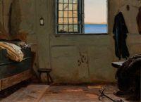 """Christen Dalsgaard, """"A fisherman's bedroom"""", 1853"""