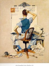 Norman Rockwell - Artist facing blank canvas