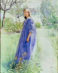 """Girl In A Blue Dress"", A Watercolour By Carl Larsson  Swedish Artist Representative of the Arts and Crafts Movement."