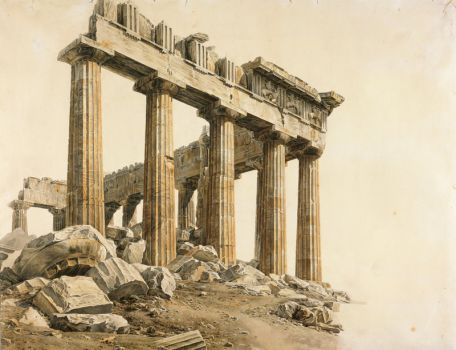 The South-east Corner of the Parthenon  by Giovanni Battista Lusieri