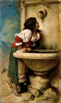 Roman girl at the fountain