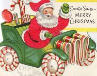 Vintage Christmas Card - Santa & Candy