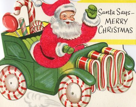Vintage Christmas Card - Santa & Candy