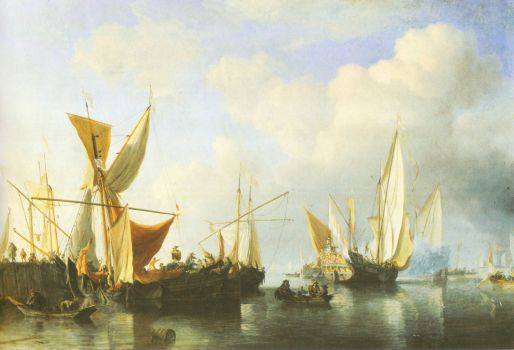 Ships-at a harbour mole n-de-velde-the-younger