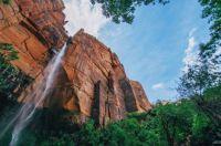 red rock waterfall