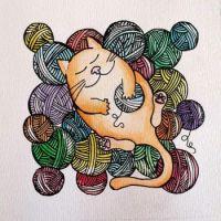 Cat with Yarn by KoalaParkLaundromat