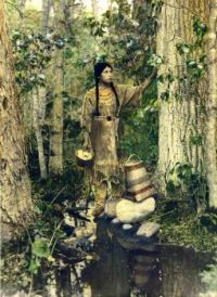 young Ojibwe woman named She Who Travels in the Sky, eraly color enhanced photo