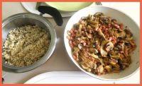 Champignons, hamblokjes en parelcouscous. Mushrooms, diced ham and pearl couscous.