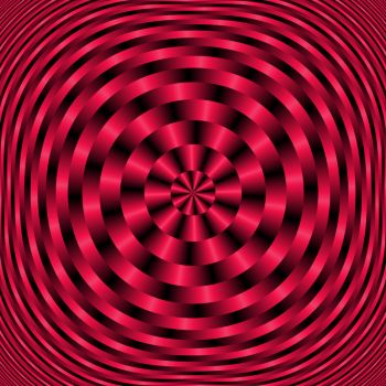 Spiraling Concentric Circles in Red and Black