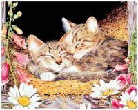 Painting -  Kittens Asleep in the Hay