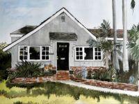 Beach house, watercolour