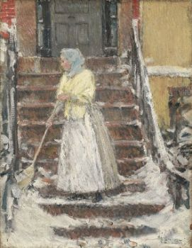 Sweeping Snow by Childe Hassam