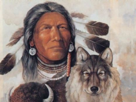 First Nations Warrior with wolf