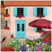 Black Cat, Pink House, Blue Door, and Pretty Flowers