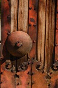 Rusty old castle door, Japan.