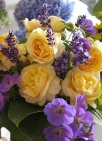 Happiness  is.....Golden Roses contrasted with Lilac Flowers.
