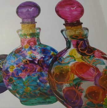 Perfume bottles in Stained Glass