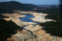 A section of Lake Oroville is seen nearly dry on Aug. 19, in Oroville, California.