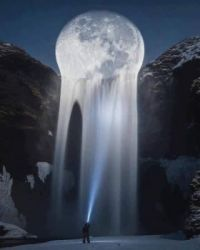 The Moon Melting Into A Waterfall.